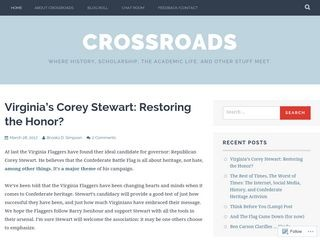 CROSSROADS: WHERE HISTORY, SCHOLARSHIP, THE ACADEMIC LIFE, AND OTHER STUFF MEET.