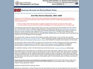 State of New Jersey Department of State/ Civil War Records
