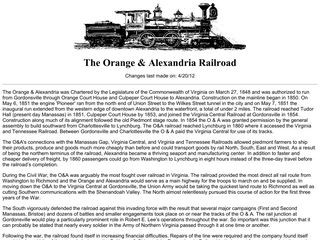 The Orange and Alexandria Railroad