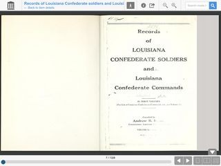 Records of Louisiana Confederate Soldiers and Louisiana Confederate Commands  Volume 3, Book 1, Part