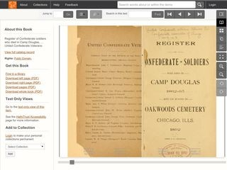 Register of Confederate Dead from Camp Douglas who are buried in Oakwoods Cemetery, Chicago, Illinoi