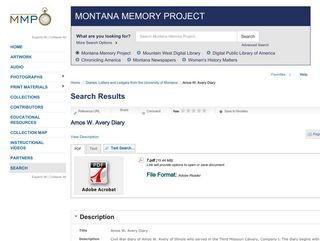 Amos W. Avery Diary / University of Montana Digital Archives