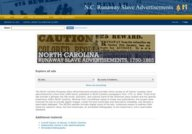 North Carolina Runaway Slave Advertisements 1750-1869