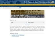 North Carolina Runaway Slave Advertisements 1750-1869