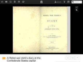 A Rebel War Clerk's Diary at the Confederate States Capital/Volume 1 by J.B. Jones